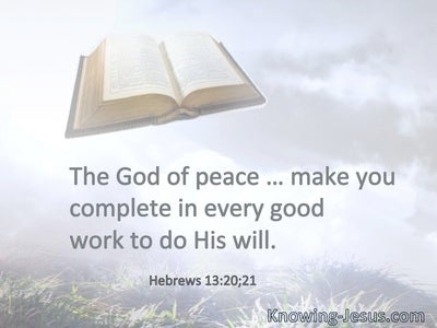 The God of peace … make you complete in every good work to do His will.